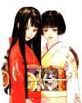 black_hair brown_hair highres japanese_clothes kimono long_hair multiple_girls obi okazaki_takeshi original short_hair takeshi_okazaki
