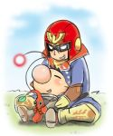 between_legs boots brown_hair captain_falcon f-zero gloves grin helmet hug hug_from_behind koma_(side) leaf lowres multiple_boys nintendo nose olimar pikmin pikmin_(creature) pointy_ears scarf sitting smile spacesuit super_smash_bros.