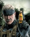 bandana bottle highres konami metal_gear metal_gear_solid metal_gear_solid_4 old_snake product_placement solid_snake