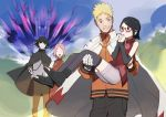 2boys 2girls angry aura bandage bandaged_arm bandages black_eyes black_hair blonde_hair blue_eyes blue_sky blush boruto:_naruto_next_generations cape carrying cloak detached_sleeves facial_mark fingerless_gloves forehead_mark glasses gloves hands_together haruno_sakura husband_and_wife looking_at_another multiple_boys multiple_girls naruto_(series) pink_hair princess_carry shaded_face short_hair shorts sky sleeveless smile spiky_hair standing susanoo_(naruto) thigh-highs toeless_legwear uchiha_sarada uchiha_sasuke unzrmtk uzumaki_naruto whisker_markings whiskers