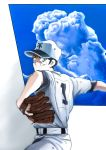 1boy absurdres baseball_cap baseball_glove baseball_uniform black_hair blue_sky clouds day dirty_face frown h2_(manga) hat highres kunimi_hiro looking_at_viewer male_focus pants pitching shirt short_sleeves simple_background sky solo sportswear standing tatsukirad10 white_pants white_shirt
