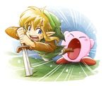 1boy 1other absorbing blonde_hair blue_eyes copy_ability hal_laboratory_inc. hat hoshi_no_kirby kirby kirby_(series) link long_hair male_focus nintendo open_mouth pointy_ears sayoyonsayoyo short_hair simple_background spoilers sword the_legend_of_zelda the_legend_of_zelda:_link's_awakening tunic weapon