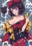 1girl bangs bare_shoulders black_hair black_kimono blue_eyes bow breasts calligraphy_brush cleavage collarbone dress fate/grand_order fate_(series) fine_art_parody flower hair_bun hair_flower hair_ornament hairpin highres holding holding_paintbrush ink japanese_clothes katsushika_hokusai_(fate/grand_order) kimono medium_breasts obi octopus off-shoulder_dress off_shoulder open_mouth orange_bow paintbrush parody parted_bangs polka_dot polka_dot_bow purple_kimono sash short_hair solo tokitarou_(fate/grand_order) waves xian_yu
