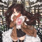 1girl absurdres bangs black_hair black_legwear black_skirt blue_eyes blush brown_jacket commentary english_commentary eyebrows_visible_through_hair fate/stay_night fate_(series) gift hair_ribbon highres holding holding_gift houses jacket kanniepan long_hair looking_at_viewer outdoors parted_bangs pleated_skirt red_scarf ribbon scarf shirt skirt snow solo standing thigh-highs tohsaka_rin two_side_up white_shirt window