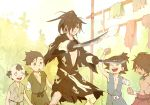 5boys amputee balding black_hair child clenched_hand closed_mouth dororo_(tezuka) hyakkimaru_(dororo) japanese_clothes kon_(kin219) looking_at_another male_focus multiple_boys ponytail prosthesis sword tan weapon