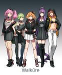 5girls :d absurdly_long_hair black_bow black_bra black_footwear black_hairband black_jacket black_legwear black_sweater boots bow bra breasts brown_hair choker cleavage clothes_around_waist collarbone dress earrings freyja_wion full_body green_eyes green_hair grey_background grey_dress grey_shirt grey_skirt hair_bow hair_ornament hair_scrunchie hairband hand_on_hip hands_in_pockets high_heels high_ponytail highlights highres hood hood_up hooded_jacket jacket jewelry kaname_buccaneer legwear_under_shorts long_hair looking_at_viewer macross macross_delta makina_nakajima medium_breasts midriff mikumo_guynemer miniskirt multicolored_hair multiple_girls navel necklace off_shoulder one_side_up open_clothes open_jacket open_mouth pants pantyhose pencil_skirt pink_hair pleated_skirt pointy_ears purple_hair red_eyes redhead reina_prowler ring scrunchie shimatani_azu shirt short_dress short_hair short_shorts shorts simple_background skirt sleeveless sleeveless_shirt smile standing stomach sweater sweater_around_waist tattoo thigh-highs thigh_boots twintails two-tone_background underwear unzipped very_long_hair white_pants white_shirt white_shorts white_skirt zettai_ryouiki