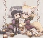 2girls adapted_costume animal_ear_fluff animal_ears blonde_hair bow bowtie chocolate commentary common_raccoon_(kemono_friends) elbow_gloves eyebrows_visible_through_hair fennec_(kemono_friends) finger_to_another's_mouth fox_ears fox_tail fur_collar fur_trim gloves grey_hair kemono_friends kolshica multicolored_hair multiple_girls no_shoes pantyhose pleated_skirt puffy_short_sleeves puffy_sleeves raccoon_ears raccoon_tail short_hair short_sleeves skirt smile sweater tail thigh-highs thigh_bow zettai_ryouiki