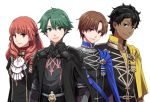 alm_(fire_emblem) armor black_hair blue_eyes brown_eyes brown_hair byleth cape celica_(fire_emblem) claude_von_regan_(fire_emblem) cosplay cravat dark_skin dark_skinned_male dimitri_alexandre_bladud_(fire_emblem) edelgard_von_hresvelgr_(fire_emblem) edelgard_von_hresvelgr_(fire_emblem)_(cosplay) fire_emblem fire_emblem:_fuukasetsugetsu fire_emblem_echoes:_mou_hitori_no_eiyuuou fire_emblem_gaiden fire_emblem_heroes gloves green_eyes green_hair grey_(fire_emblem) hair_ornament hair_ribbon headband hksi1pin intelligent_systems long_hair looking_at_viewer multiple_boys nintendo red_cape red_eyes redhead ribbon robin_(fire_emblem_gaiden) short_hair simple_background smile tiara uniform weapon white_background