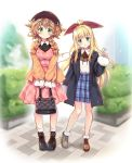 2girls alternate_costume bag bangs black_coat black_footwear blonde_hair blush bow braid breasts brown_footwear brown_hair brown_jacket bush casual closed_mouth coat collared_shirt commentary dress full_body fur_trim green_eyes hair_bow handbag hat highres holding_handbag jacket large_breasts long_hair long_sleeves low_twin_braids messy_hair miniskirt moeki_yuuta mononobe_alice multiple_girls nijisanji open_clothes open_coat outdoors parted_lips pink_dress plaid plaid_skirt red_bow shirt shoes sidelocks skirt sleeves_past_wrists smile socks standing twin_braids urban very_long_hair virtual_youtuber warabeda_meijii white_legwear