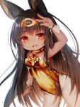 1girl :d ahoge animal_ears arm_up bangs bare_shoulders breasts brown_eyes brown_hair brown_leotard commentary_request covered_navel dark_skin eyebrows_visible_through_hair fangs hair_between_eyes highres leotard long_hair looking_at_viewer medium_breasts mofuaki open_mouth original pantyhose short_eyebrows simple_background smile solo strapless strapless_leotard thick_eyebrows very_long_hair w white_background white_legwear wrist_cuffs