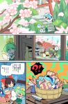 ! 4girls ? american_flag_dress american_flag_legwear blonde_hair blue_dress blue_ribbon bow brown_hair bucket cherry_blossoms cirno clownpiece comic daiyousei detached_sleeves dress fairy_wings fish flower green_hair hair_bow hair_tubes hakurei_reimu hat highres jar jester_cap kettle knife mortar moyazou_(kitaguni_moyashi_seizoujo) multiple_girls object_on_head ofuda pestle pulling red_bow restrained ribbon short_hair side_ponytail spoken_character spoken_exclamation_mark spoken_question_mark stairs striped striped_dress sweat torii touhou translation_request tree trembling wings wooden_bucket