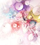 1girl absurdres bai_qi-qsr colorful gloves hair_ribbon highres kaname_madoka magical_girl mahou_shoujo_madoka_magica pink_hair ribbon short_hair short_twintails smile twintails