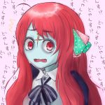 /\/\/\ 1girl 6_9 bangs blue_skin bow catchphrase commentary_request confused forehead_scar furrowed_eyebrows hair_ribbon long_hair macaron_(youjyosann) minamoto_sakura open_mouth pink_background polka_dot red_eyes redhead ribbon school_uniform solo swept_bangs wavy_mouth zombie zombie_land_saga