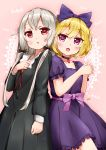 2girls :o absurdres arm_at_side arm_up back-to-back bat black_choker black_dress blonde_hair blue_bow blue_dress blush bow brooch choker commentary_request cowboy_shot doily dress erie_(tonari_no_kyuuketsuki-san) eyebrows_visible_through_hair hair_between_eyes hair_bow hand_on_own_chest hands_clasped highres interlocked_fingers jewelry long_hair long_sleeves looking_at_viewer multiple_girls open_mouth own_hands_together pendant pink_background puffy_short_sleeves puffy_sleeves purple_sash red_eyes ruby_(gemstone) sato_(actual_size) short_hair short_sleeves sidelocks signature silver_hair sophie_twilight tonari_no_kyuuketsuki-san very_long_hair