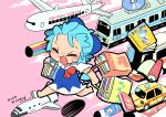 1girl aircraft airplane bag barefoot blue_dress blue_hair book bow bus car cd cirno closed_eyes clouds commentary_request cover dress english_text ground_vehicle hair_bow koinobori motor_vehicle moyazou_(kitaguni_moyashi_seizoujo) open_mouth pink_background ribbon running scroll shopping_bag short_hair short_sleeves space_craft touhou train wings