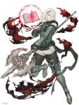 2boys absurdres armor armored_boots book boots chains darkness full_body fur_trim gloves green_eyes grimoire_weiss highres ji_no multiple_boys nier nier_(series) nier_(young) official_art polearm serious sinoalice spear square_enix weapon white_background white_hair