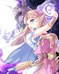 1girl armor blonde_hair blue_eyes blush dress earrings gloves gown highres jewelry long_hair nintendo open_mouth pointy_ears princess_zelda super_smash_bros. super_smash_bros._ultimate sword the_legend_of_zelda the_legend_of_zelda:_a_link_between_worlds tiara tomas_(kaosu22) triforce weapon