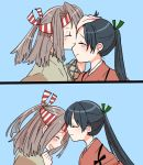 2girls black_hair closed_eyes comic hachimaki hakama hand_on_another's_head headband high_ponytail houshou_(kantai_collection) japanese_clothes kantai_collection light_brown_hair multiple_girls open_mouth ponytail remodel_(kantai_collection) smile yoichi_(umagoya) zuihou_(kantai_collection)