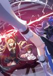 1boy 2girls animal arms_up ass blonde_hair blue_eyes bow cape carrying electricity ereshkigal_(fate/grand_order) fate/grand_order fate_(series) foreshortening fou_(fate/grand_order) fujimaru_ritsuka_(male) fur_trim hair_bow highres long_hair meltlilith multiple_girls open_mouth orange_eyes prosthesis prosthetic_leg purple_hair spikes tiara two_side_up weapon xion32