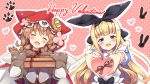 2girls apron bangs black_bow blonde_hair blue_dress blush bow box box_of_chocolates braid brown_hair buttons cloak closed_eyes dress eyebrows_visible_through_hair gift gloves green_eyes hair_between_eyes hair_bow hairband happy_valentine head_tilt heart heart-shaped_box highres holding holding_box holding_gift hood hooded_cloak incoming_gift long_hair looking_at_viewer low_twin_braids moeki_yuuta mononobe_alice multiple_girls nijisanji open_mouth paw_gloves paws pink_background polka_dot polka_dot_background puffy_short_sleeves puffy_sleeves ribbon short_sleeves smile twin_braids upper_body valentine very_long_hair virtual_youtuber warabeda_meijii