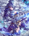 1girl angel_statue armor armored_boots blue_legwear boots breasts cleavage commentary_request cutout full_armor gauntlets hair_ornament headpiece helmet highres holding holding_spear holding_sword holding_weapon large_breasts long_hair looking_at_viewer metal number original polearm purple_hair signature solo spear statue sword thigh-highs upper_teeth violet_eyes wangxiii weapon