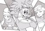 1girl 2boys angry armor breasts broly_(dragon_ball_super) chirai commentary_request d: dragon_ball dragon_ball_super dragon_ball_super_broly expressionless eyelashes female floating_hair gloves grey_background greyscale hat highres jewelry lemo_(dragon_ball) looking_away monochrome multiple_boys necklace nervous no_humans open_mouth outside_border panels sad scar scouter shaded_face sharp_teeth short_hair simple_background single_glove sweatdrop tama_azusa_hatsu teeth twitter_username two-tone_background white_background white_gloves white_hair