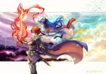 1boy 1girl ane-suisei armor blue_hair cape fire_emblem fire_emblem:_fuuin_no_tsurugi flaming_sword flaming_weapon gloves greaves headband holding holding_sword holding_weapon hug hug_from_behind lilina long_hair nintendo pauldrons redhead roy_(fire_emblem) sword traditional_media watercolor_(medium) weapon