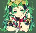 1girl cape dragon fire_emblem fire_emblem:_fuukasetsugetsu gem green_eyes green_hair guttary jewelry long_hair looking_at_viewer mamkute nintendo pointy_ears simple_background solo sothis tiara translation_request
