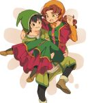 1boy 1girl breasts commentary_request curly_hair dragon_quest dragon_quest_vii dress green_eyes hat hero_(dq7) hood long_hair maribel_(dq7) miyama_(kannsannn) open_mouth redhead smile