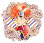 1boy blue_eyes european_clothes fire_emblem fire_emblem:_fuuin_no_tsurugi floral_background flower headband high_collar nintendo portrait redhead rose roy_(fire_emblem) solo youheiogm