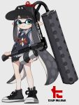 1girl baseball_cap black_footwear black_hair black_hat black_shorts blue_eyes buttons closed_mouth collared_shirt domino_mask full_body hat holding inkling inkling_(language) long_hair long_sleeves maco_spl mask pointy_ears shirt shoelaces shoes shorts smile sneakers solo splat_roller_(splatoon) splatoon splatoon_(series) splatoon_2 standing sweater_vest tentacle_hair toni_kensa_(splatoon) very_long_hair white_shirt