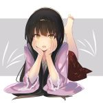 1girl bangs barefoot black_hair blush bow bowtie commentary_request eyebrows_visible_through_hair grey_background hands_on_own_cheeks hands_on_own_face hands_up highres houraisan_kaguya leg_up long_hair long_sleeves looking_at_viewer lying on_stomach open_mouth pink_shirt red_skirt rin_falcon shirt sidelocks skirt smile soles solo touhou two-tone_background white_background white_bow white_neckwear wide_sleeves yellow_eyes