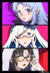 3girls bangs bespectacled black_hair blue_eyes blue_hair blush braid brynhildr_(fate) caster commentary_request eyebrows_visible_through_hair facial_mark fate/grand_order fate_(series) glasses hand_on_eyewear horns long_hair looking_at_viewer meiji_ken multiple_girls open_mouth pink_background pointy_ears portrait purple_background red_background sesshouin_kiara shadow side_braid sweat violet_eyes yellow_eyes