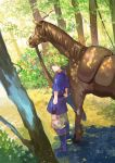 1boy animal fire_emblem fire_emblem:_fuuin_no_tsurugi forest green_eyes green_hair holding_reins horse looking_at_viewer nature nintendo noki_(affabile) smile solo traditional_media watercolor_(medium) wolt