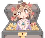 1girl brown_eyes brown_hair coin crown drill_hair earrings eyebrows_visible_through_hair eyewear_on_head gem gold_bar hair_ribbon hat jewelry keikou_ryuudou looking_at_viewer necklace purple_coat ribbon touhou treasure_chest white_background yorigami_jo'on