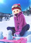 1girl abo_(kawatasyunnnosukesabu) bare_tree beanie black_pants blush butterfly_sitting commentary_request day feet_together gloves goggles goggles_on_head hands_on_feet hat highres original outdoors pants pine_tree purple_coat purple_gloves red_eyes red_hat shoes sitting_on_ground smile snow snowboard snowman solo tree white_hair winter winter_clothes