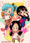 >:o 3girls :d annoyed bangs black_gloves black_hair blue_eyes blue_hair blush boots bulma chi-chi_(dragon_ball) chibi chinese_clothes clenched_hands denim dragon_ball dragon_ball_(classic) dragonball_z eyelashes eyes_visible_through_hair fighting_stance fingerless_gloves floating_hair frown full_body gloves hand_on_hip heart heart_background highres index_finger_raised jeans leg_up looking_away motunabe707070 multiple_girls open_mouth orange_gloves pants shirt short_hair side_ponytail smile sparkle sparkle_background torn_clothes torn_jeans torn_pants twintails twitter_username v-shaped_eyebrows videl white_shirt wristband