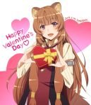 1girl 2019 animal_ears artist_name bangs blunt_bangs blush box brown_hair dated eyebrows_visible_through_hair gift gift_box happy_valentine heart heart-shaped_box looking_at_viewer open_mouth raccoon_ears raccoon_tail raphtalia smile solo tail tate_no_yuusha_no_nariagari text_focus valentine violet_eyes yamazaki_(now_printing)