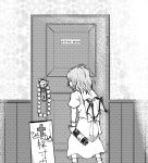 boots bottle bow commentary commentary_request door doorknob frills from_behind garlic koyubi_(littlefinger1988) long_skirt pointy_ears remilia_scarlet short_hair sign skirt touhou wings