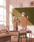 1boy 1girl :d absurdres ai_x_suugaku_x_tanka analog_clock arm_at_side backlighting blazer brown_hair brown_jacket chair chalk chalkboard character_request classroom clock curtains desk eye_contact from_behind glasses hand_up height_difference highres indoors itunohika jacket light long_hair long_sleeves looking_at_another loudspeaker math open_mouth pants pleated_skirt profile school school_desk school_uniform shoes skirt smile standing tareme uwabaki wall_clock wind window wooden_floor writing