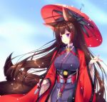 1girl amagi_(azur_lane) animal_ears azur_lane bangs blunt_bangs breasts brown_hair choker eyebrows_visible_through_hair fox_ears hair_ornament japanese_clothes kimono large_breasts long_hair mikoto_(mikoto_r_a) oriental_umbrella solo thick_eyebrows umbrella violet_eyes wide_sleeves