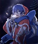 1boy blue_eyes blue_hair blue_scarf breath capelet christmas_lights christmas_tree commentary fur-trimmed_capelet fur-trimmed_gloves fur-trimmed_hat fur-trimmed_sleeves fur_trim gloves hair_between_eyes hat highres holding holding_sack kaito milky_way neck_bell neck_ribbon night reaching_out ribbon sack santa_costume santa_hat scarf short_hair sky smile solo star_(sky) starry_sky visible_air vocaloid ziling