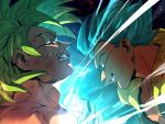 2boys battle blue_eyes blue_hair broly_(dragon_ball_super) dirty dirty_face dragon_ball dragon_ball_super_broly energy_ball face-to-face fighting_stance fingernails frown gogeta green_eyes green_hair grin incoming_attack incoming_punch male_focus multiple_boys profile serious short_hair smile spiky_hair super_saiyan super_saiyan_blue tako_jirou teeth