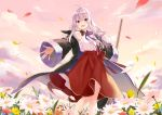 1girl :d ahoge azuuru bare_shoulders black_robe blush broom buttons clouds collared_shirt commentary_request day elaina_(majo_no_tabitabi) field flower flower_field holding holding_broom leaf leaves_in_wind long_hair long_skirt long_sleeves looking_at_viewer majo_no_tabitabi neck_ribbon off_shoulder open_clothes open_mouth outdoors outstretched_arms purple_neckwear red_skirt ribbon robe shirt shirt_tucked_in silver_hair skirt sky sleeveless sleeveless_shirt smile solo standing violet_eyes white_flower white_shirt wide_shot wide_sleeves yellow_flower