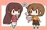 2girls akagi_(kantai_collection) alternate_costume artist_name beige_skirt bowl breasts brown_hair chibi clothes_around_waist eyebrows_visible_through_hair full_body green_skirt heart hiryuu_(kantai_collection) holding holding_bowl jewelry kantai_collection large_breasts long_hair multiple_girls necklace one_side_up open_mouth orange_sweater plaid plaid_shirt red_shirt ribbed_sweater rice rice_bowl shirt shirt_around_waist simoyuki simple_background skirt smile speech_bubble sweater walking
