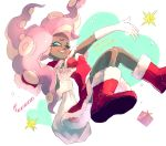 1girl 2018 ;) aqua_eyes boots breasts candy candy_cane capelet christmas dark_skin dated dress elbow_gloves food fur-trimmed_boots fur-trimmed_capelet fur-trimmed_dress fur-trimmed_hat fur_trim furrowed_eyebrows gift gloves grin heart highres holding holding_sack horizontal_pupils iida_(splatoon) knees_together_feet_apart long_hair medium_breasts merry_christmas mole mole_under_mouth octarian one_eye_closed pink_hair pink_pupils red_capelet red_dress red_footwear sack santa_costume sizu smile solo splatoon splatoon_(series) splatoon_2 strapless strapless_dress suction_cups teeth tentacle_hair white_gloves