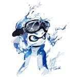 1girl blue_eyes blue_hair closed_mouth dissolving domino_mask goggles goggles_on_head inkling looking_away mask pointy_ears short_hair signature simple_background solo splatoon splatoon_(series) splatoon_2 tarai_(silica5) tentacle_hair upper_body water white_background