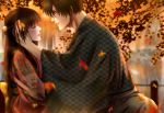 1boy 1girl autumn autumn_leaves black_hair blurry blurry_background blush braid brown_hair closed_eyes dating glasses hair_ornament hand_in_another's_hair hetero highres izumi_(stardustalone) japanese_clothes kimono leaf leaf_print long_hair looking_at_another maple_leaf original outdoors parted_lips pond profile renri_no_chigiri_wo_kimi_to_shiru wide_sleeves