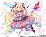 1girl :d animal_ears artist_name blonde_hair blue_eyes breasts cat_ears cleavage dress fang frills full_body heart holding holding_staff kai-ri-sei_million_arthur long_hair looking_at_viewer million_arthur_(series) nyanya official_art open_mouth paw_pose pink_dress simple_background small_breasts smile solo staff star thigh-highs very_long_hair watermark white_legwear