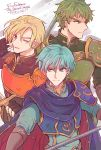 3boys armor blonde_hair blue_eyes blue_hair cape elbow_gloves ephraim fire_emblem fire_emblem:_seima_no_kouseki forde gloves green_eyes green_hair highres holding holding_spear holding_sword holding_weapon kyle_(fire_emblem) looking_at_viewer multiple_boys nintendo one_eye_closed pauldrons polearm smile spear sword wavy_hair weapon